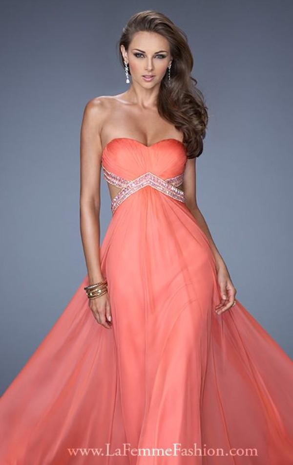 dress long prom dress orange dress