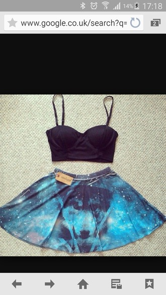 skirt blue skirt galaxy skirt