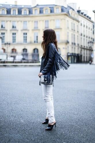 elodie in paris blogger jacket pants shoes bag leather jacket white jeans white pants fringed jacket shoulder bag