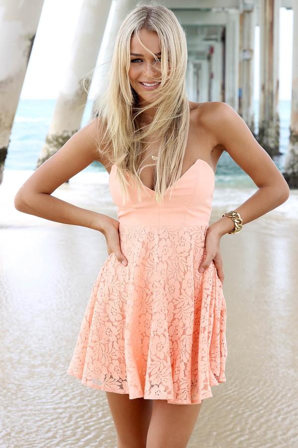 Dress: ustrendy dress, lace dress, lace, ustrendy, coral dress ...