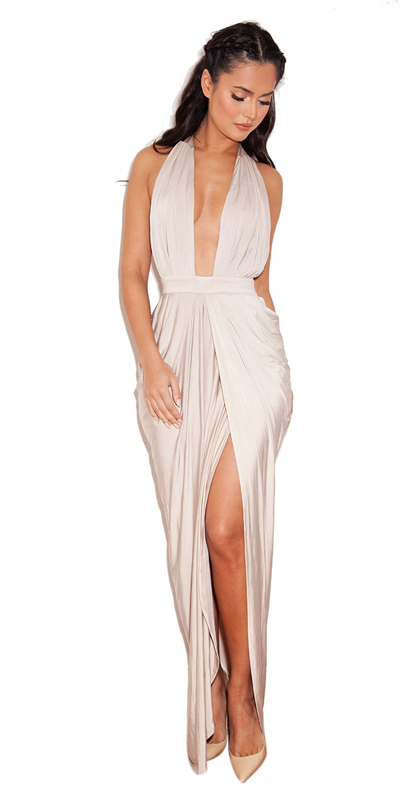 Clothing : max dresses : 'salima' champagne silky jersey deep v maxi dress