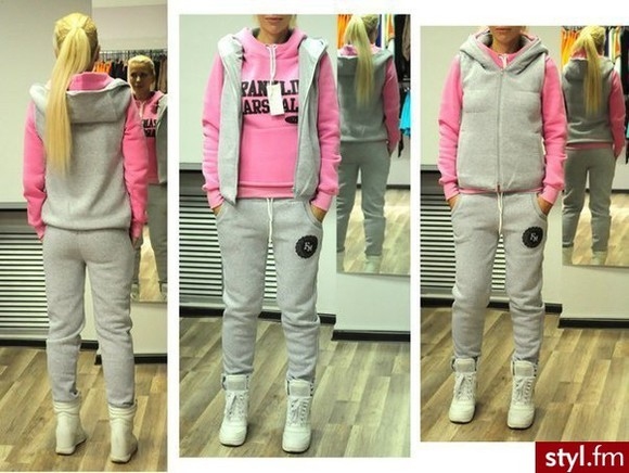 jacket hoodie pink pants franklin marshall grey tracksuit