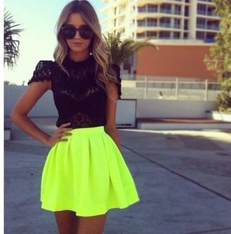 blouse neon green black black shirt clothes ootd high neck lace lace blouses lacey lacey blouse shirt top cute chic fashion stylish sunglasses summer hot classy short sleeve shirt skirt yellow black lace