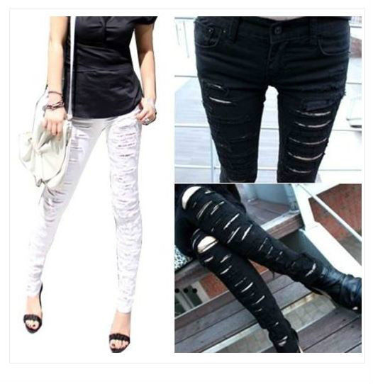 Very Destroyed Ripped Distressed Skinny Jeans Black or White US 0 2 4 6 | eBay