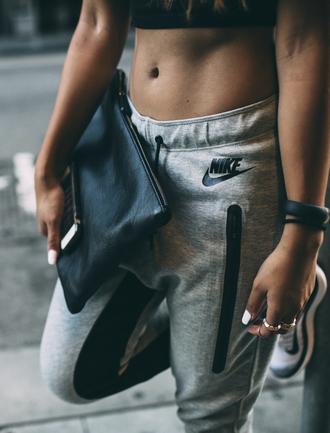bag black clutch sweatpants pants