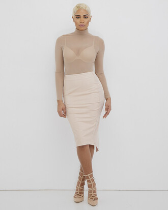skirt midi skirt faux leather faux leather skirt nude nude skirt