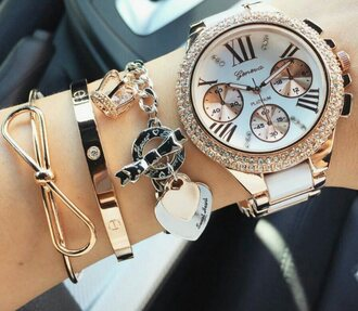 jewels watch jewelry bracelets stacked bracelets bow bow bracelet gold bracelet gold