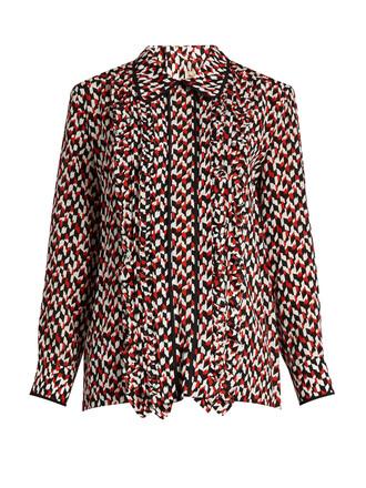 blouse ruffle silk red top