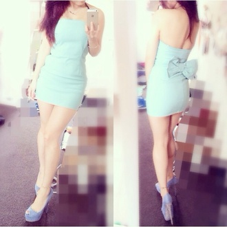 dress tiffany blue tiffany&co cute dress strapless dress lace bodycon dress mint bodycon bodycon dress bow back dress bow dress mini dress pencil dress lucy in the sky pink lucyinthesky musk