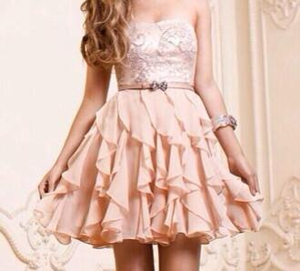 dress beige dress ruffle pretty cute dress beige lace dress cocktail dresses prom dress
