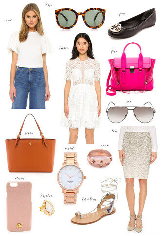 ivory lane blogger sunglasses jewels tory burch black flats pink bag white dress lace dress watch sparkle light pink