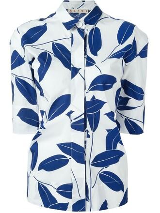 shirt print blue top