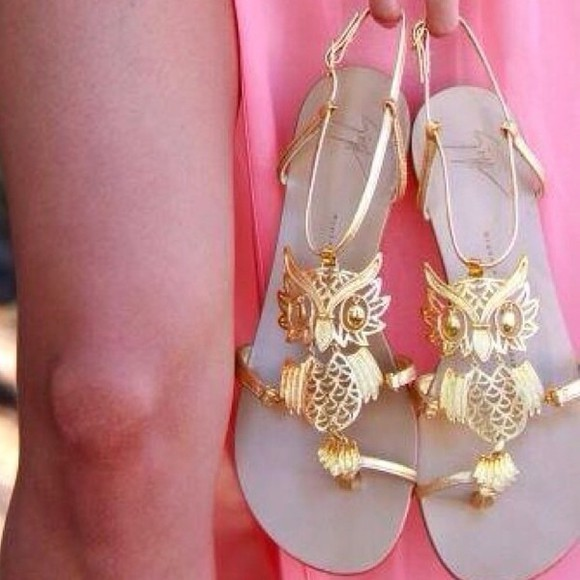 owl gold shoes gladiator sandals