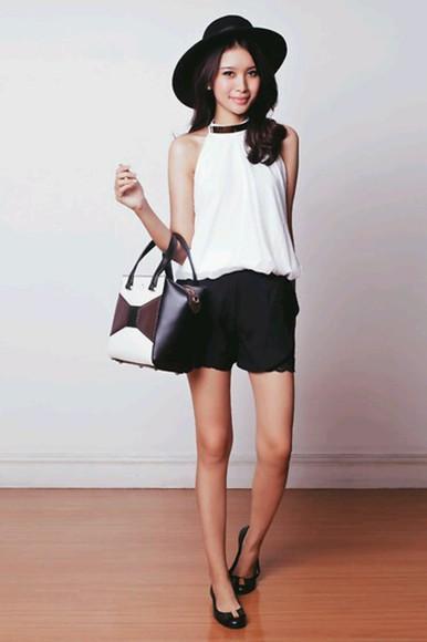 high heels blouse bag white blouse