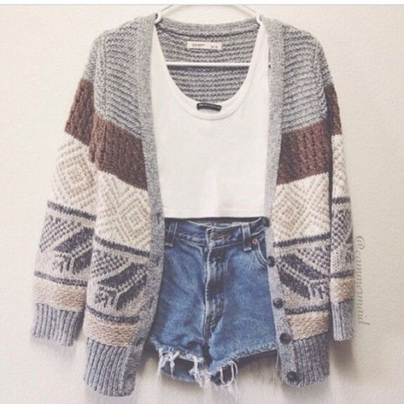 aztec sweater cardigan winter sweater shorts