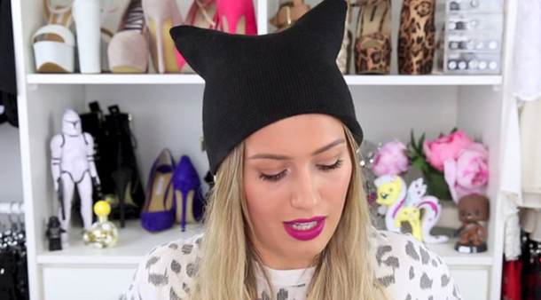 hat beanie toque karissa pukas hat with ears hat with two cat ears cat beanie