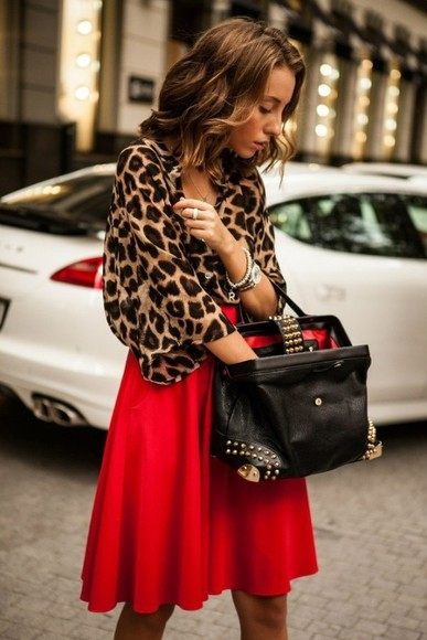 tote bag skirt blouse leopard print animal print red red skirt casual look business casual