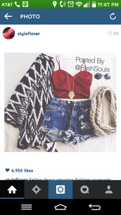 cardigan,red shirt,High waisted shorts,necklace,denim shorts,cut offs,jean cutoffs,aztek,sweater,black and white