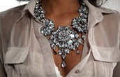 jewels,necklace,clothes,Accessory,shirt,beautiful,diamonds,statement necklace,glamour,classy,underwear,fashion statement,cute,big,silver,stones,jewelry,diamond necklace,blouse,daimond,lovely,girl,girly,bling,bib necklaces,prom,jewerly,big necklace
