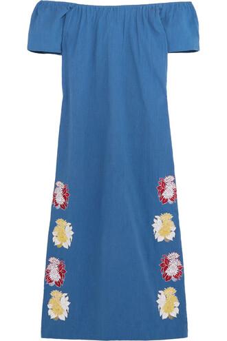 dress midi dress embroidered midi cotton blue