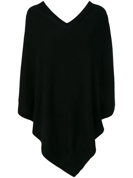 poncho women black top