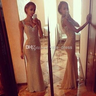 dress formal dress beautiful champagne crystal prom dress mermaid/trumpet lovely desperate for this desperate the most popular dresses