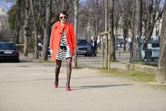 la petite anglaise blogger coat dress zebra coral black and white dress