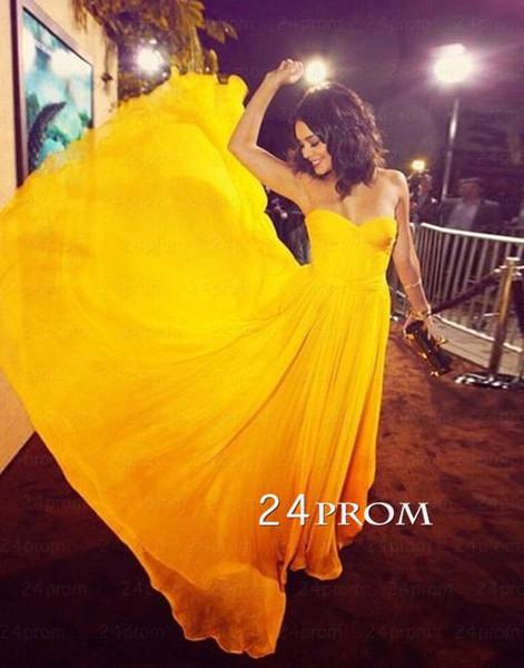 Simple yellow chiffon prom dress, bridesmaid dress