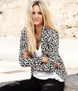 Women's Soft Cotton Slim Blazer White Leopard Print Small   eBay
