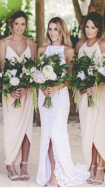 Dress Beach Wedding Bridesmaid Bride Dresses Long Bridesmaid Dress Wedding  Nude Nude Dress Marriage