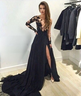 dress prom black laced