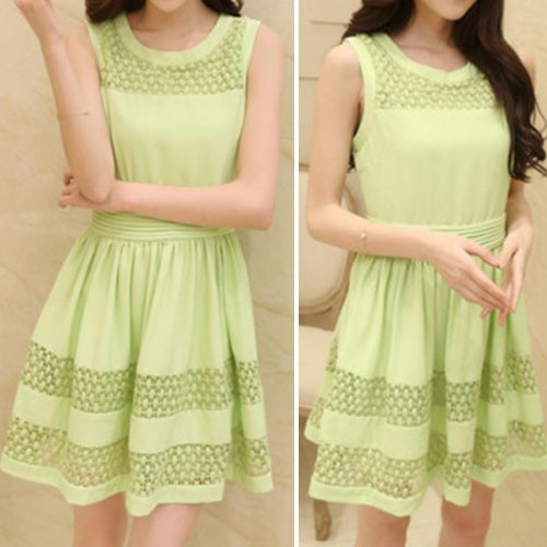 Fashion Hollow Out Lace Spliced Sleeveless Chiffon Dress Green for big sale!