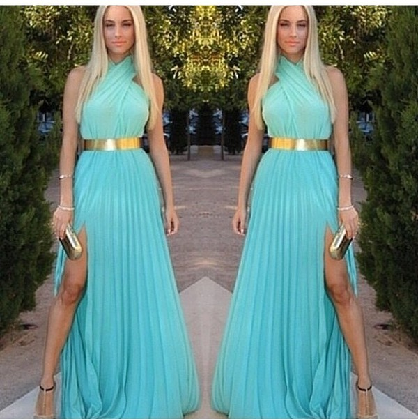 dress formal fancy gold gold belt halter neck slit dress summer sheer fashion style ombre beach party maxi dress gold belt dress ombre maxi dress ombre dress
