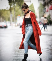 top,jeans,ankle boots,alessandra ambrosio,streetstyle,paris fashion week 2016,coat,trench coat,model off-duty