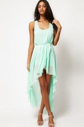 dress,kcloth,chiffon dress,chiffon,mint blue dress,irregular dress
