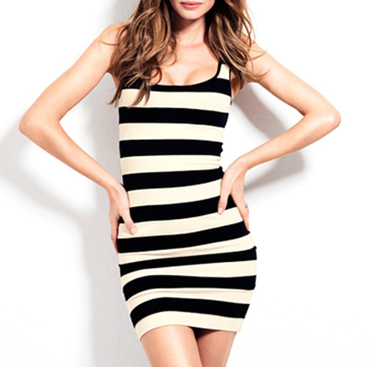 Haoduoyi women's black white striped refining clipping tight elastic dress at amazon women's clothing store: