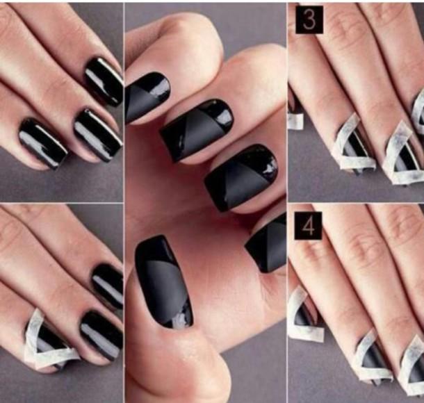 nail polish, black nail polish, opaque, matte - Wheretoget