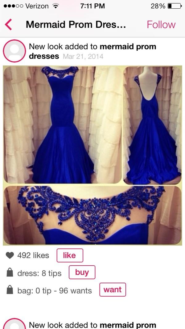 dress blue dress prom dress pageant dress elegant royal blue dress long prom dress lace prom dress mermaid prom dress beading at the neck lline.   floor o length