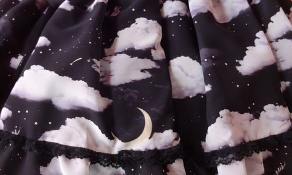 stars black skirt silver moon night clouds lace trim