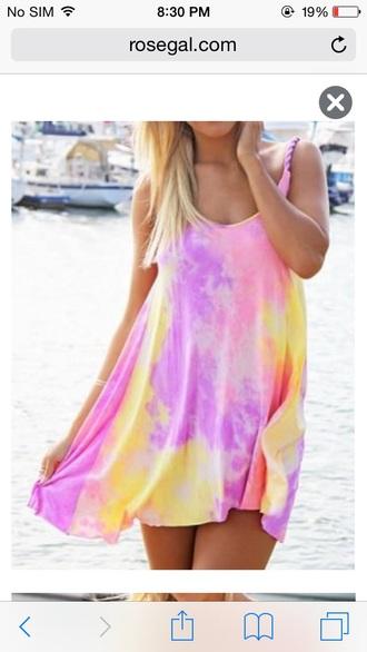 pastel tie dye tie dye dress lilac summer dress yellow dress pink dress pastel dress