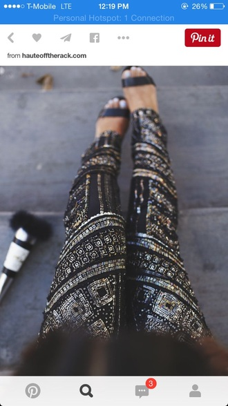 pants bejeweled pants fashion black pants