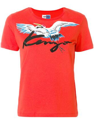 t-shirt shirt women cotton print red top