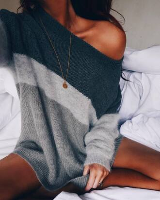sweater tumblr grey sweater stripes striped sweater necklace gold necklace