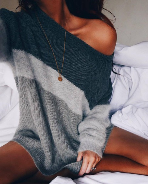 sweater tumblr grey sweater stripes striped sweater necklace gold necklace fall outfits comfy grey charcoal black white long long sleeves fall sweater off the shoulder off the shoulder sweater winter outfits fall outfits brown grey and off white sweater three cozy warm oversized blue oversized sweater cotton