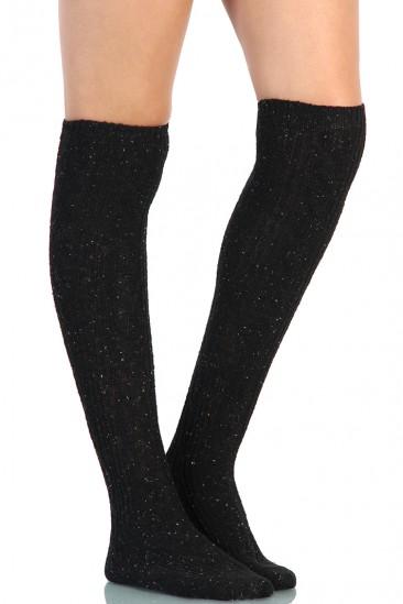 LoveMelrose.com From Harry & Molly | Star Knee High Socks - Black