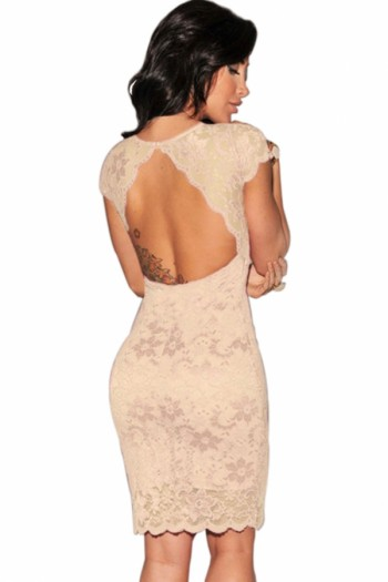 Beige Enticing Lace Surface Backless Bodycon Dress