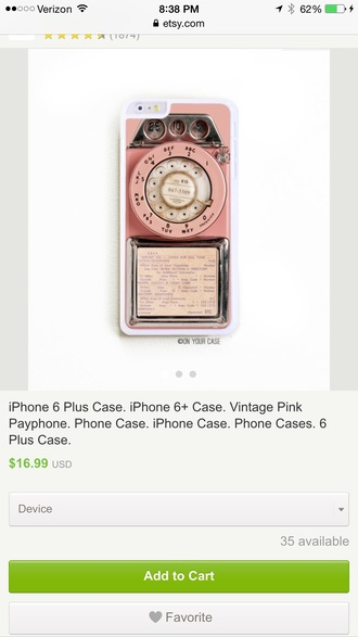 phone cover vintage pink telephone