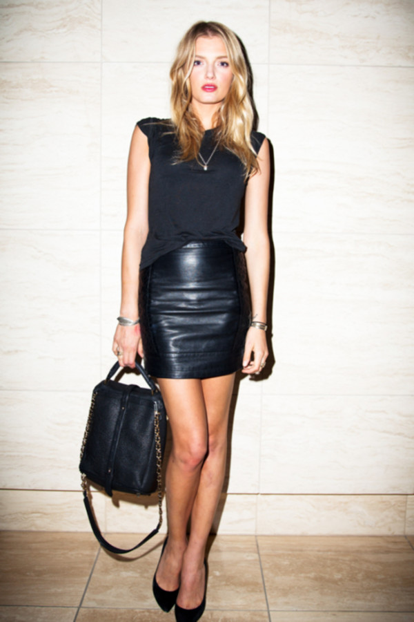 Black Sexy Stretch Leather Look High Waisted Zip Back Mini Skirt ...