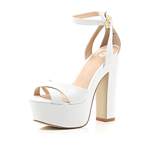 Island Womens White leather chunky block platform heels