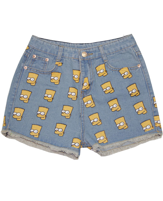 Light blue high waist simpson print denim shorts